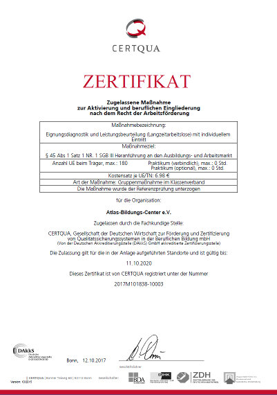 CERTQUA-Zertifikat zur Eignungsdiagnostik und Leistungsbeurteilung