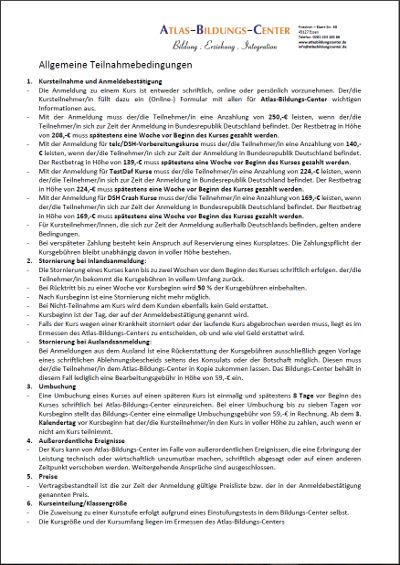 Allgemeine Teilnahmebdingungen für die Kurse des Altas-Bildungs-Centers e.V.