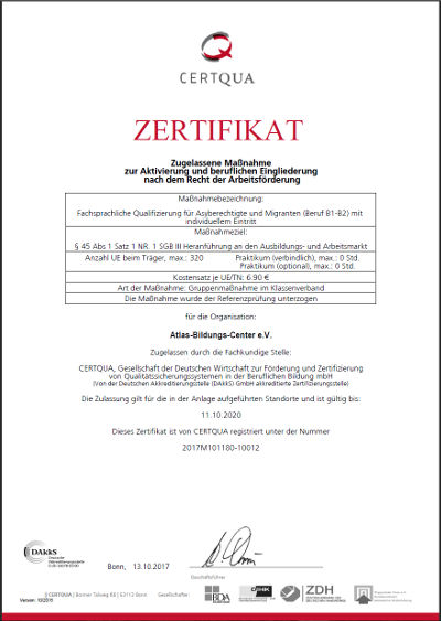 CERTQUA-Zertigikat zur fachsprachlichen Qualifizierung B1/B2-Beruf
