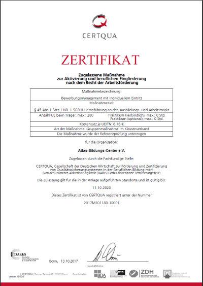 CERTQUA-Zertifikat zum Bewerbungsmanagement