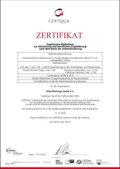 CERTQUA-Zertigikat zur fachsprachlichen Qualifizierung C1-Beruf