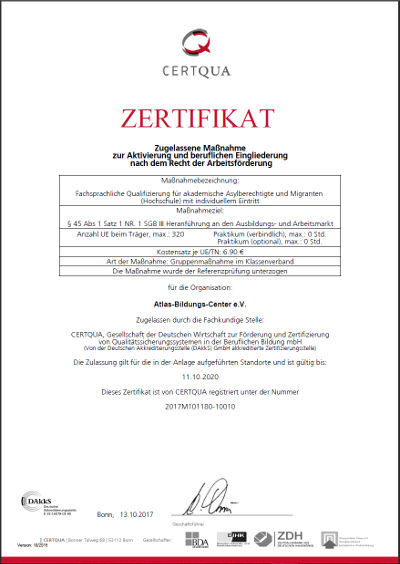 CERTQUA-Zertigikat zur fachsprachlichen Qualifizierung C1-Hochschule