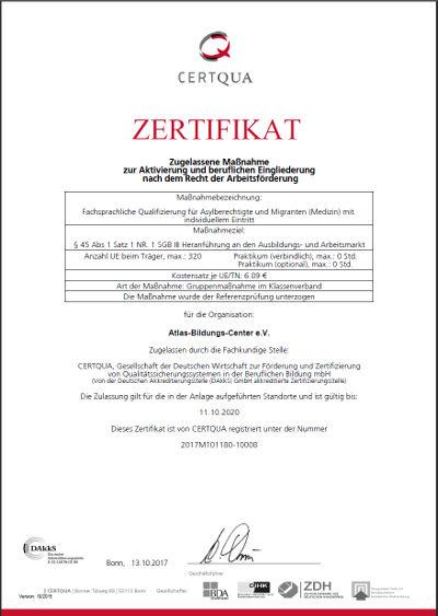 CERTQUA-Zertigikat zur fachsprachlichen Qualifizierung C1-Medizin
