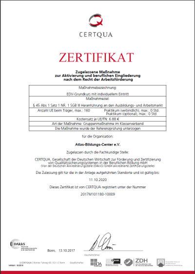 CERTQUA-Zertifikat zum EDV-Grundkurs