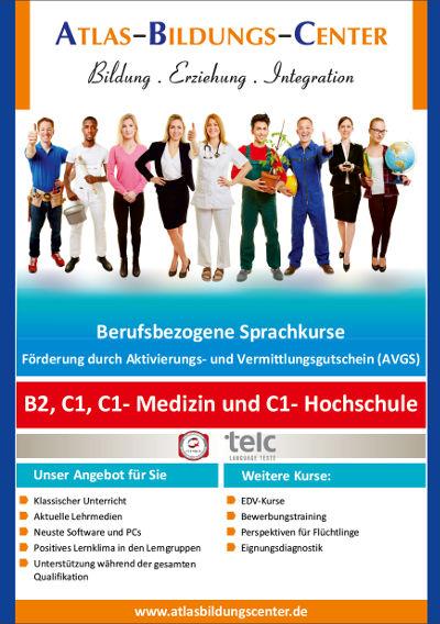 Flyer zu den berufsbezogenen Sprachkursen B2, C1, C1-Medizin und C1-Hochschule